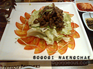 Beef with fresh vegetables in oriental dressing