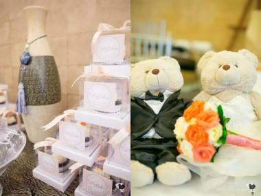 Wedding Favors by Tattycakes (left); Couple Bear Stuffed Toys (right)