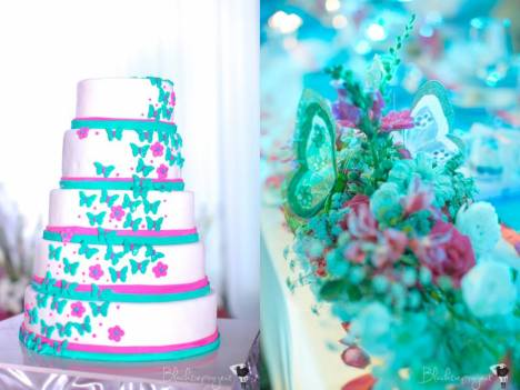 Wedding Cake by Cravings (left); Presidential/VIP Centerpiece (right)