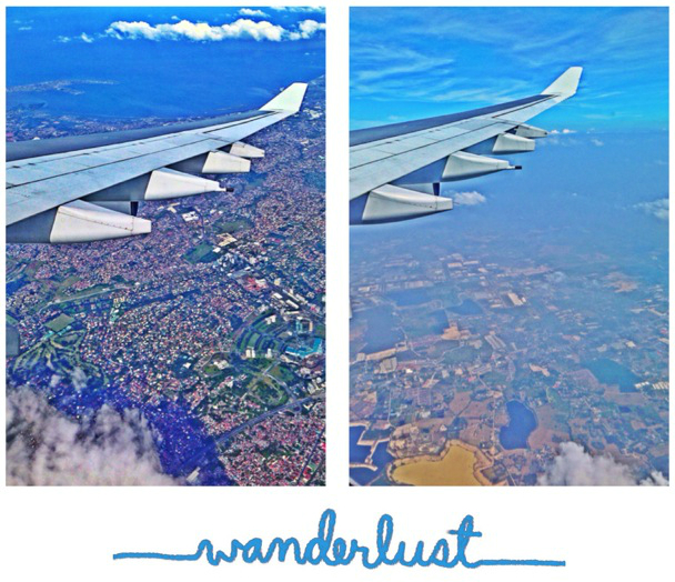 Air-borne, overlooking Manila (left); Air-borne, overlooking Bangkok (right)